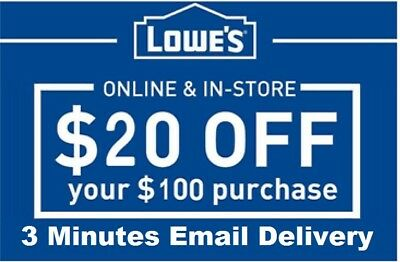 Five 5x Lowes $20 OFF $100 InStore and Online5Coupon-Fast Delivery--EXP 9/30/18-