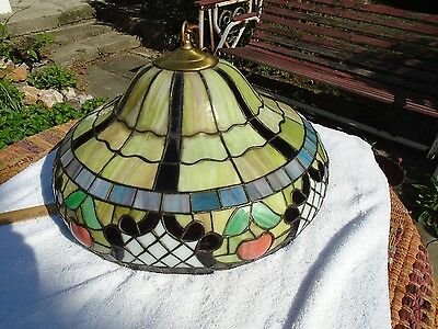 Antique Vintage Chandelier Stained Glass Fixture Shade Light restored rewired