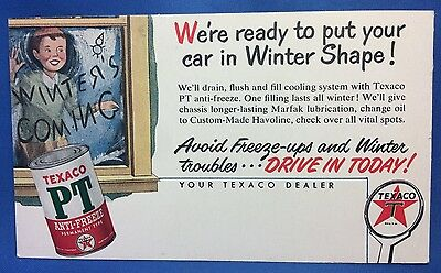 1951 TEXACO GAS & OIL Station Advertising POSTCARD Original Vintage