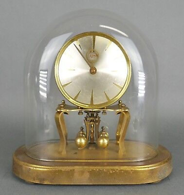 Vintage German Kundo Brass Glass Dome 400 Day Anniversary Table Mantle Clock