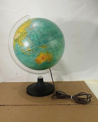 Vintage Rand McNally Light up Lighted Tin Globe 1982 Physical Political lamp