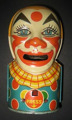 Vintage Tin Litho Chein Mechanical CLOWN BANK 1931-mid 40's First Version