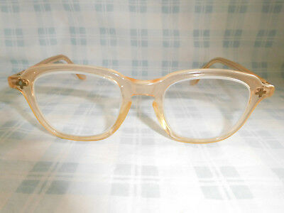 Vintage B&L Bausch & Lomb Safety Peach Nude Clear Sunglasses Eyeglasses Frame