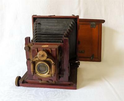 Antique 19Th Century Thornton And Pickard Mahogany And Brass Camera Tribune