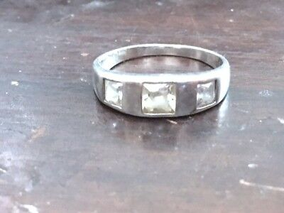 Vintage 925 sterling silver triple white topaz front band ring size 9, 3.2g
