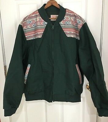 Vintage Saddle King Western Green Coat Jacket Southwestern Detail Size XL Reg