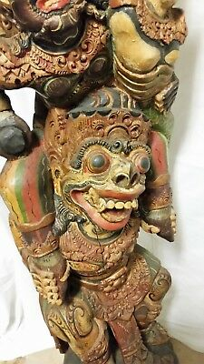 """Antique Traditional Southeast Asia Wood Carving Garuda -- 51"""" tall"""