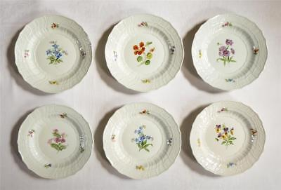 Good Set Of Six Antique 19Th Century Meissen Shaped Large Deep Plates Painted