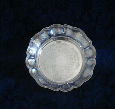 "Vintage Barker Ellis Silver Plate Scalloped Fluted Coin Bowl 4"" Made In England"