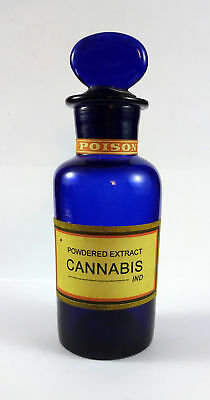 Old Powdered Extract Cannabis Indica Poison Marijuana Blue Cobalt Bottle