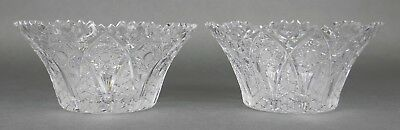 Fine Antique AMERICAN BRILLIANT Cut Crystal ABP Berry Bowls Set Of 2 19th Cent C