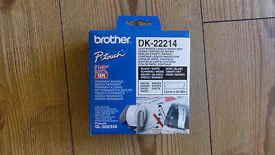 2 x Original Brother P-touch DK-22214 Endlos Etiketten QL-500 550 560 570 580N