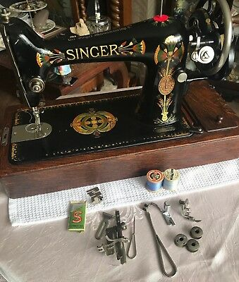 Vintage Singer 66k Sewing Machine With Case & Accessories Lotus Details 1917