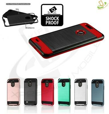 For LG X Power 3 Hybrid Armor Brushed Protective Rugged Rubber Cover Slim Case