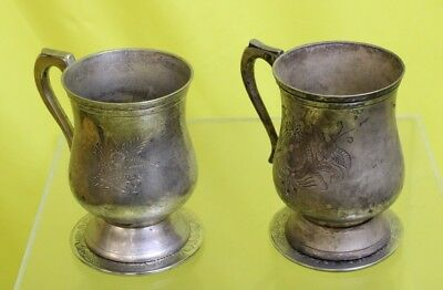 Larp Silver Plated Tankards With Silver Plated Coasters #OAF