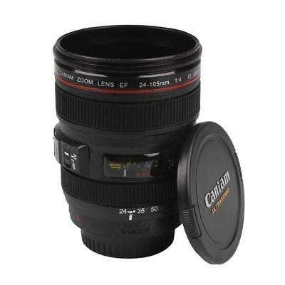 Lens Cup Camera Mug Coffee Travel Stainless Thermos Steel Tea Lid Gift Leak