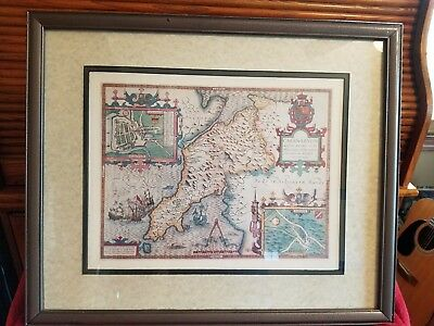 Old world Map Of CAERNAVON WALES 19x23 framed and matted.