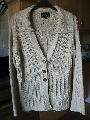 Per Una Made in Italy  Chunky Knit Cardigan With Collar 38 bust