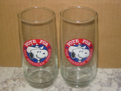 Vintage Peanuts Vote for Snoopy All American Beagle Drinking Glasses