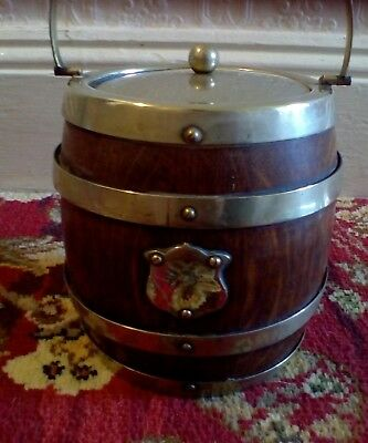 Vintage Silver Plate Banded Wood Tea Caddy