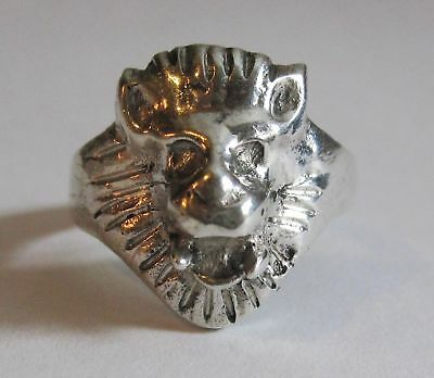Vintage / Antique Roaring Lion Head Ring - 925 Sterling Silver - Size 6