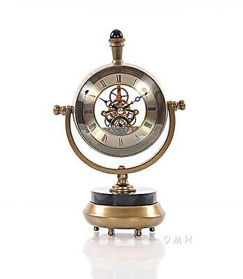 Brass Table Clock With - Roman Numerals 16.2""