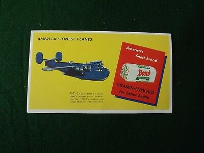 Vintage WW2 BOND BREAD Finest Planes Ink Advertising Blotter PB2Y-3