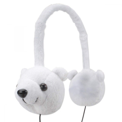 Kids Headphones Soft Plush Polar Bear Shape Earphones Wired Over-Ear Headset