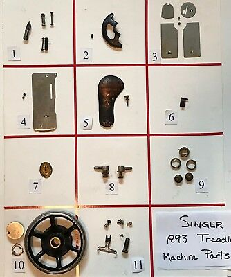 1893 ANTIQUE SINGER TREADLE SEWING MACHINE PARTS (Free Shipping)