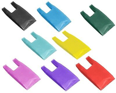 "T Shirt Poly Bags  7 x 5 x 16""  HIGH DENSITY  Economical Colored Plastic Handles"