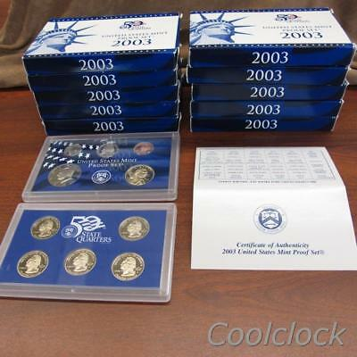 10 Pc Lot 2003 United States Mint Proof Sets & Quarter Sets in Boxes w/COA #Y289