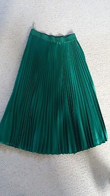 emerald green pleated outrageous fortune midi skirt uk 8/10