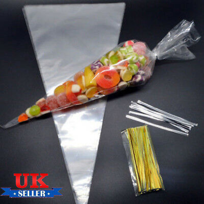 """50pcs CLEAR Plain Cone Cellophane Sweet Party Bags Cello Candy & 4"""" Twist Ties"""
