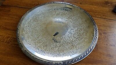 "SHERIDAN SILVERPLATE  LARGE ROUND TRAY 18"" INTRICATE PATTERN 2lbs 7.3 oz"