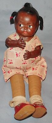 "Black Americana 1930's Composition Doll Period Clothes 15 1/2"" Tall 3 Pigtails"