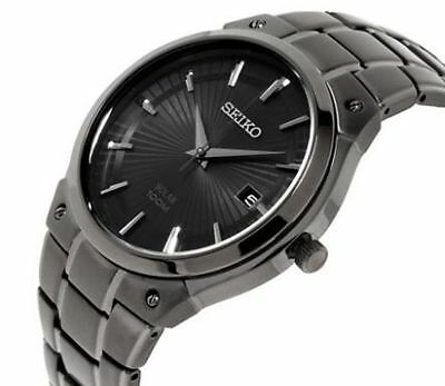 Seiko Mens Black Ion Core Stainless Solar Water Resistant 100m Sne325