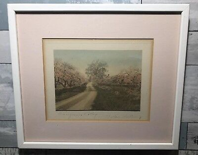 """Vintage Antique Signed Wallace Nutting Hand Colored Photo """"Honeymoon Cottage"""""""