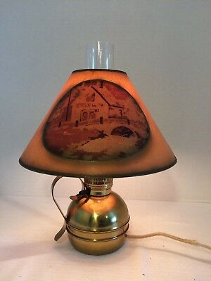 Antique CHASE Brass & Copper Company Brass Lamp Paper Shade USA Countryside
