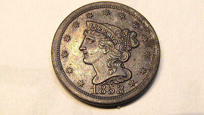 1853-P Braided Hair Half Cent - Brown Uncirculated Large Date