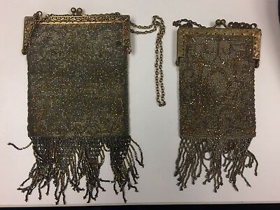 Lot of Two Antique French Steel Frame Art Deco Beaded Fringed Purse 1920's