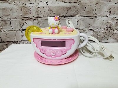 Hello Kitty Tea Cup Alarm Clock AM/FM Radio Pink Yellow White