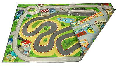Kids Double Sided Felt Play Mat - 2 in 1 Racetrack Speedway & Town,