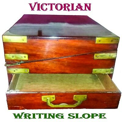 Antique WRITING SLOPE - two INKS + Drawer + Brassware - 40cm x 25xm x 15cm LOT D