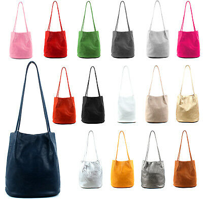 Women's Long Handle Soft Leather Shopper Shoulder Tote Bucket Hobo Bag Handbag