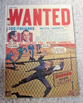 """Vintage Golden Age """"Wanted"""" Crime Comic. Feb. 1949 Good Condition"""