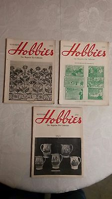 """( 3 ) Vintage """" HOBBIES , The Magazine for Collectors """" 1954 & 1955"""