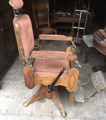 Antique Oak Koken Barber Chair