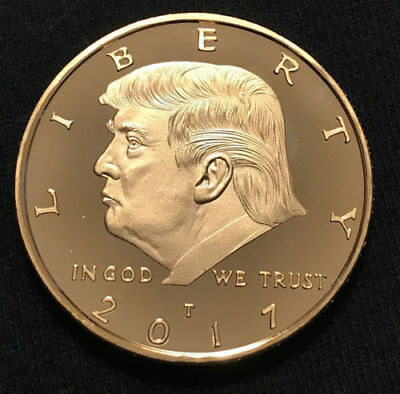 2017 President Donald Trump 24k Gold Plated EAGLE Commemorative Coin