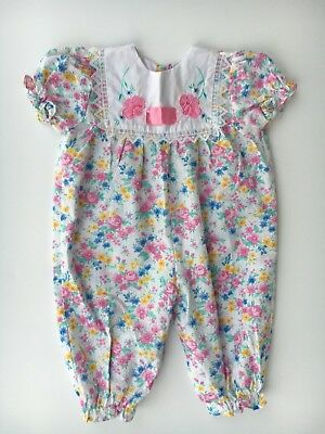 1970's Adorable Vintage flowered baby girls romper  size 6-9 months