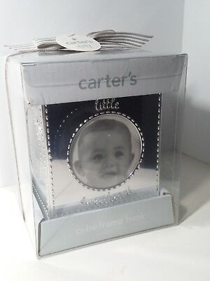 CARTERS BABY Cube Frame Bank SILVER New SEALED Elephant Giraffe EMBOSSED